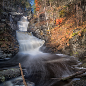 SWOOSH by Robert Fawcett - Landscapes Waterscapes ( autumn, fall, poconos, waterfall, places, travel, landscape )