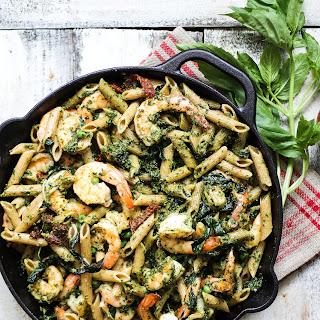 Whole Wheat Shrimp Pesto Pasta.