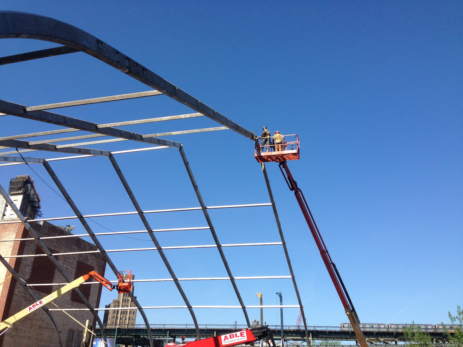 Aluminum frame being installed for high clearance tension fabric building modular construction