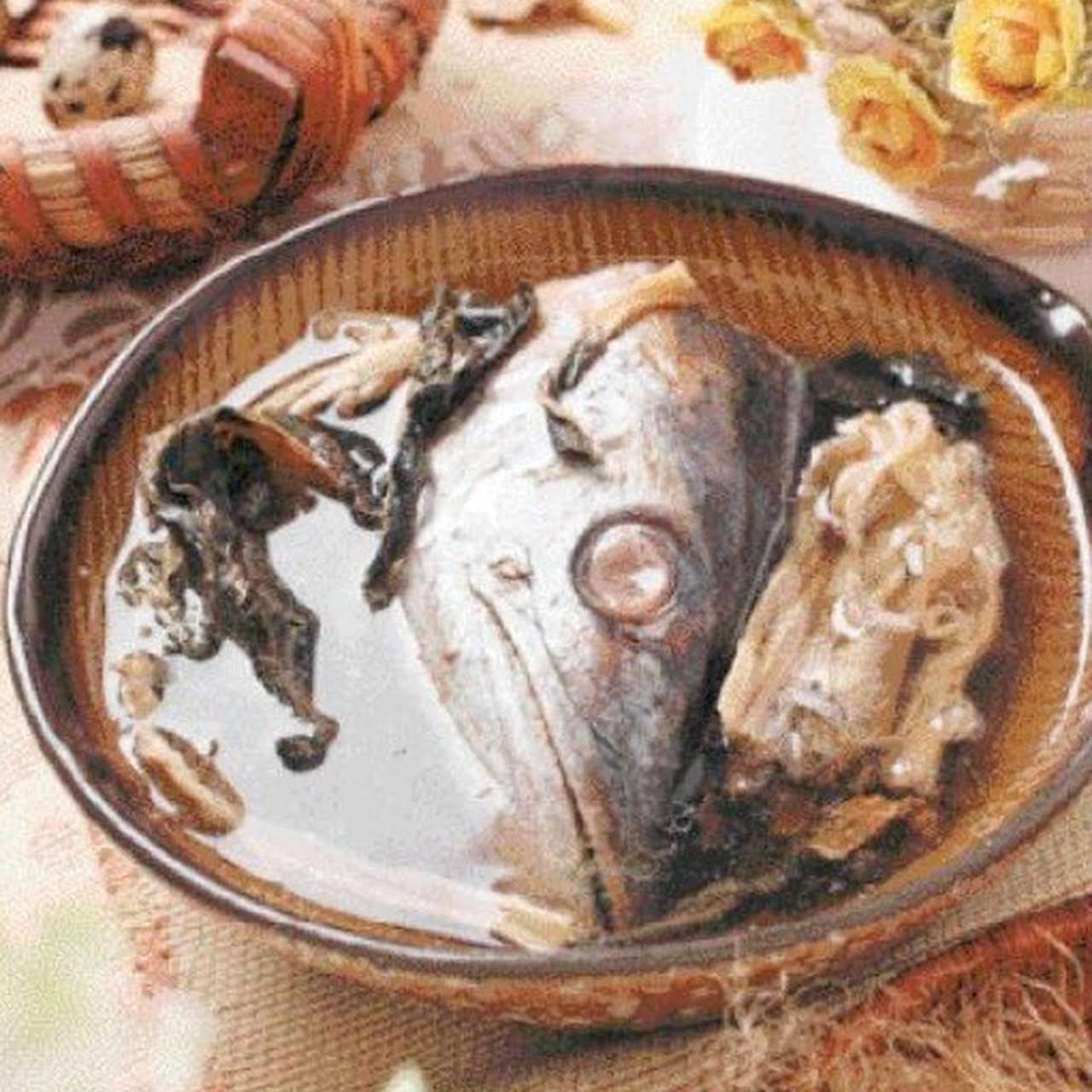 Dried Cabbage Salty Fish Head Soup