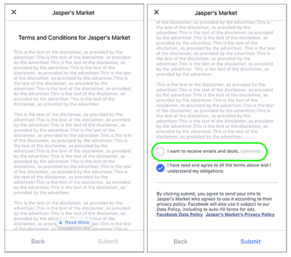custom consent field in Facebook Lead Ad for GDPR compliance