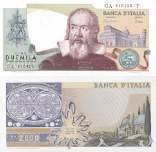 Photo: Galileo Galilei, 2000 Itialian Lire (1973). Galileo Galilei was born in 1564 in Pisa, Italy. His scientific work had enormous impact on the future of science. Galileo was the first to adequately describe inertia, the linear superposition of velocities, scale, and gravitational acceleration. His writings on the Copernican model of the planets transformed opion so quickly that he met trouble from the Church, which supported the epicycles of Ptolemy. He remained convicted of heresy until 1992. This note is now obsolete.
