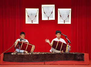 Photo: A feast to our eyes and ears - The Mridangam played by Sathya and Kirtan