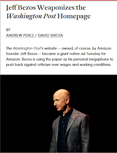 Jeff Bezos' Fake News in the Newspaper He Really Owns