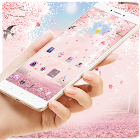 Pink Falling Flowers Romantic Theme icon