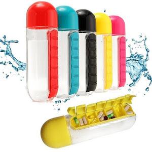 Sticla de apa cu organizator de medicamente