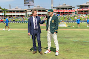 South Africa's Faf du Plessis (C) during the coin toss on day 1 of the first International Test Series 2019/20 game between South Africa and England at Supersport Park, Centurion on 26 December 2019