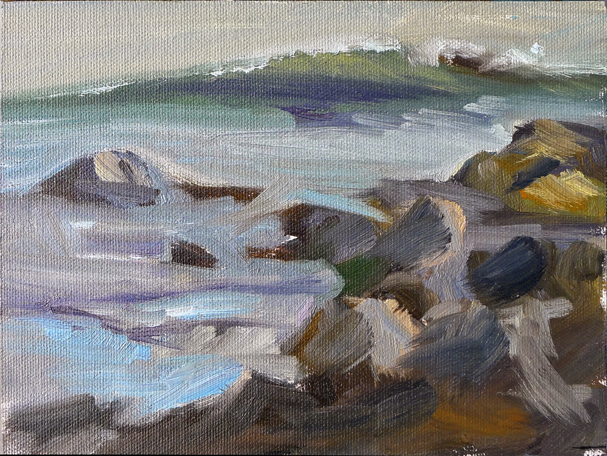Photo: Surf at Marshall's Point, oil on canvasboard, 6X8