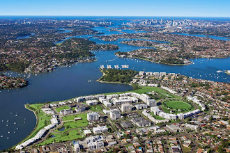 Photo: Aerial View Of Sydney Harbour Looking East - Double Bay in the very far distance