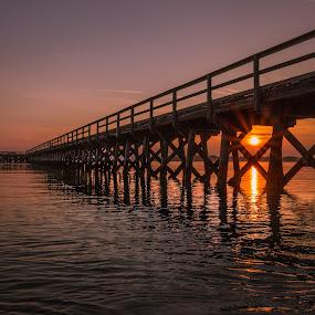 Foster by Michael Otero - Buildings & Architecture Bridges & Suspended Structures ( peer, sunburst, reflection, maine, sunset, colors, horizon, gradient )