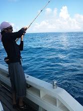 """Photo: 去年、デビュー戦でヒラマサ10kgオーバーを釣り上げた""""サカキさん""""今日は、インチクメインです!"""