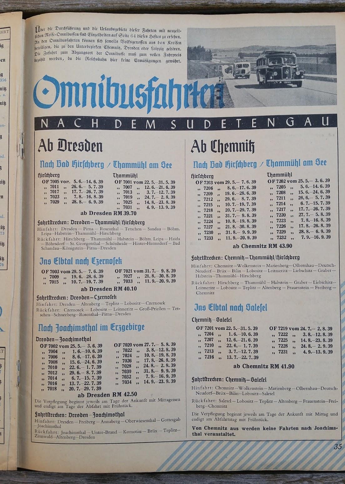 """Die Deutsche Arbeitsfront - Urlaubsfahrten 1939 - NS-Gemeinschaft """"Kraft durch Freude"""" Gau Sachsen - Katalog - Omnibusfahrten"""