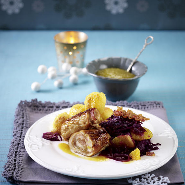 Turkey and Bacon Roulades with Red Cabbage