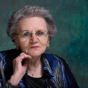 My mother modeling at 84! by Henk  Veldhuizen - People Portraits of Women ( mother, blue, older, woman, portrait )