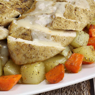 Turkey Tenderloin with Roasted Vegetables and Gravy.