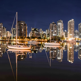 Downtown Vancouver Skyline by Cory Bohnenkamp - City,  Street & Park  Skylines ( water, skyline, boats, buildings, reflections, night, vancouver, city )