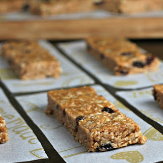 No-bake Cinnamon Raisin Almond Butter Oat Bars.