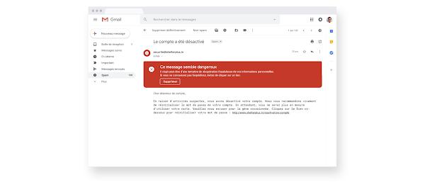 Alerte en cas d'e-mail suspect sur Gmail