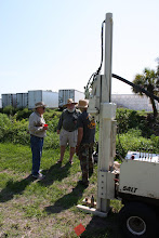 Photo: Boom is up at Vero, sampler is inserted and ready for extraction. Jim Dunbar (FSU Anthropology, Ph.D. 2012) at Vero assisted by Bob Gross. Grayal Farr (FSU Anthropology MA) with his back to us.