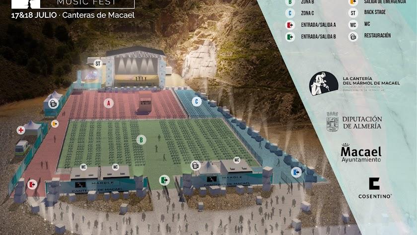 lano de distribución de la zona donde estará situado el escenario frente a las canteras de mármol