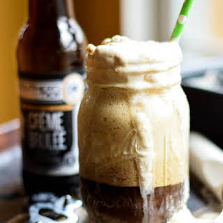 Creme Brulee Stout Float with Creme Brulee Stout No-Churn Ice Cream.