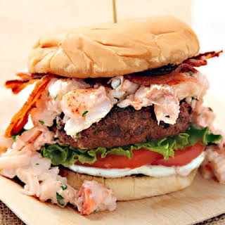 Grilled Burger with Lobster Meat and Bacon.