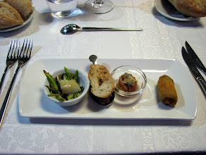 Photo: First four appetizers at Bubble Gastro Restaurant in Girona, an extraordinary restuarant in a small city--a real find.