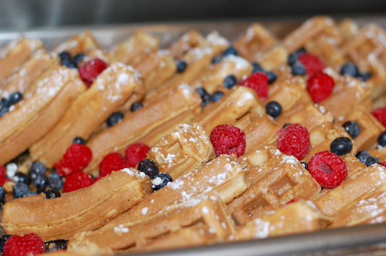 French toast with blueberries and raspberries served on a Hornblower champagne brunch cruise.