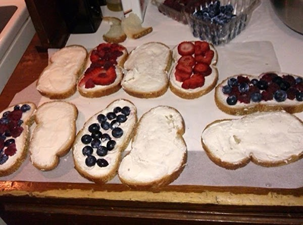 Place fruit on 6 of the bread slices and cover with other 6 slices......