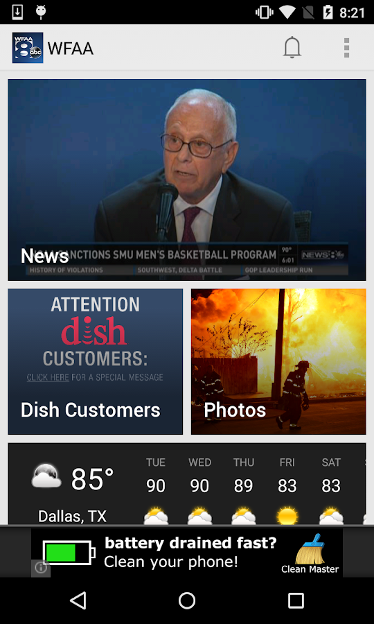 WFAA-North Texas News, Weather- screenshot
