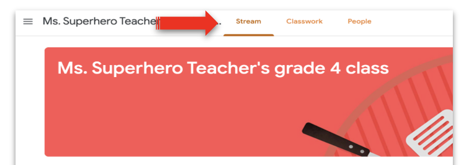 Screenshot of Google Classroom with a red arrow pointing to the Stream tab.