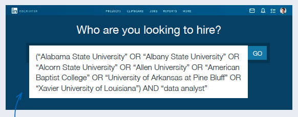 """Add the AND operator followed by a term that will narrow down the search to graduates who meet your specific criteria (like """"data analyst""""), and hit """"Search."""" Source: LinkedIn"""
