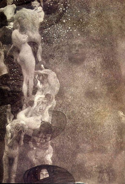 """Klimt's """"Philosophy,"""" with a column of naked writhing figures over a vast abyss."""