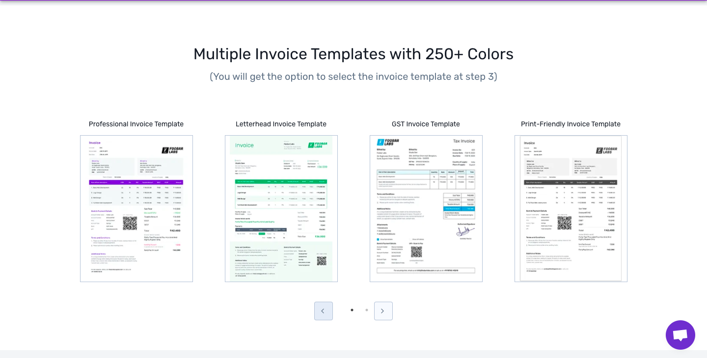 Online invoice templates.