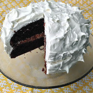 Devils Food Cake with Meringue Frosting