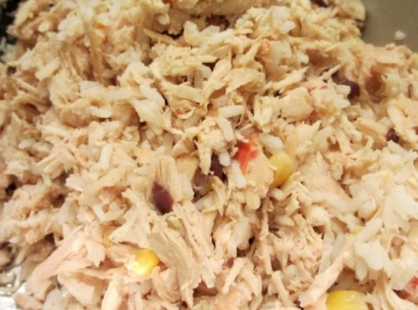 Cook rice per package directions. Add to shredded chicken mixture; stir to combine.
