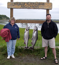 Photo: A matching pair of Kasilof River King Salmon caught with Alaska Drift Away Fishing.