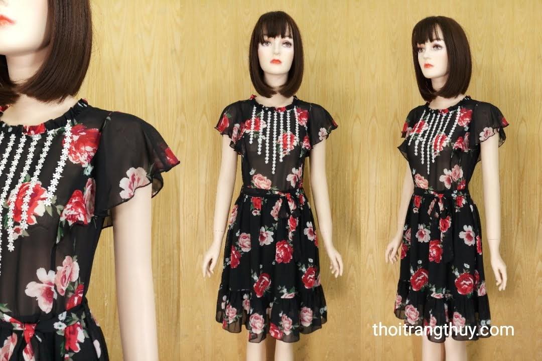 Váy xòe tay bèo vải voan họa tiết hoa V590 Thời Trang Thủy