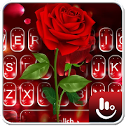 Romantic Flower Red Rose Sparkling Keyboard Theme