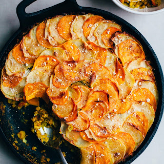 One Pan Brussels Sprout and Red Lentil Pie with a Root Vegetable Crust.