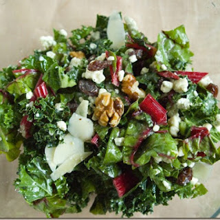 Kale and Chard Salad with Blue Cheese and Walnuts.