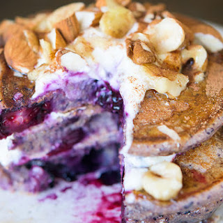 Smoothie Pancakes with Berries, Banana, Yogurt, and Nuts