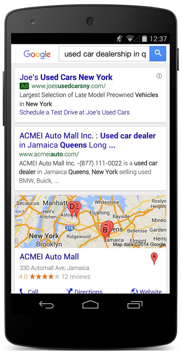 Esempio di annuncio con sitelink dinamici su dispositivo mobile.