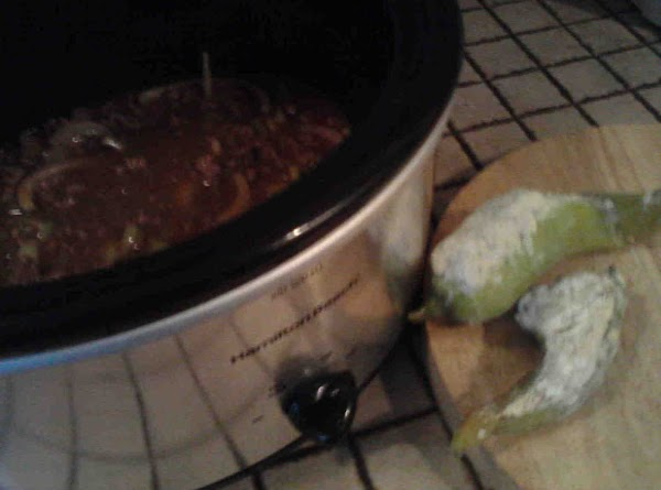 Turn crock pot to low. Chop and add hot poppers. Add green beans, salt and...
