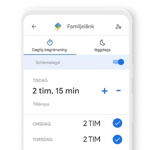 Bild på en telefon som visar hur du kan ställa in dagliga tidsgränser för en enhet med Family Link-appen