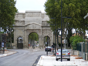 Photo: The Triumphal Arch nearby is on the Via Agrippa running from Lyon to Arles. It was built about 20 BCE, to commemorate the campaigns of the Roman Second Legion (whose veterans were given priority to land ownership when the town was founded in 35 BCE). The Arch is 64 feet wide, 63 feet high, and 28 feet deep.