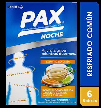 PAX NOCHE PANELA LIMÓN   CAJA X6SOB SAN ACETAMINOF FENILEFRI CLORFENIR