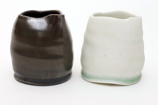 Sandy Lockwood pair of Black & White Ceramic Jugs