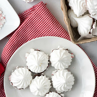 Chocolate Peppermint Dipped Meringues.