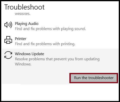 Run Windows Troubleshooter to fix error code 0x80070026